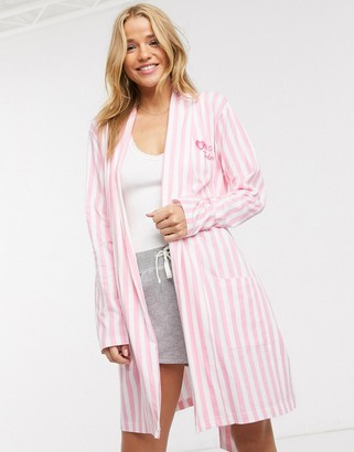Brave Soul bride tribe dressing gown in pink stripe