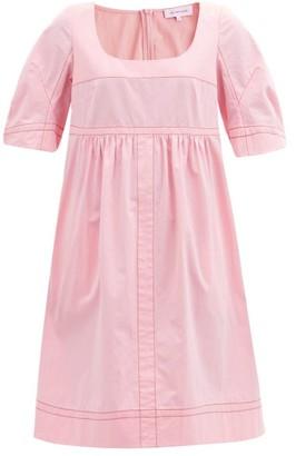 Lee Mathews May Topstitched Cotton Dress - Pink