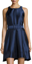 Taylor Fit & Flare Belted Dress with Beaded Neck, Navy