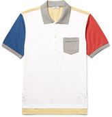Thom Browne Colour-block Cotton-piqué Polo Shirt - White