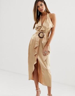 Asos Design DESIGN halter neck satin pencil midi dress with wooden buckle belt-Gold