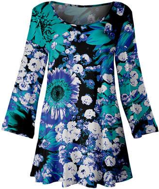Lily Women's Tunics TRQ - Turquoise & Blue Floral Scoop Neck Tunic - Women & Plus
