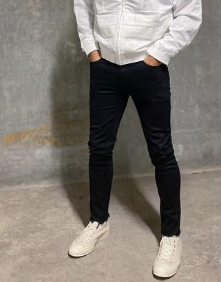 Topman morgan skinny jeans with ripped hems in black