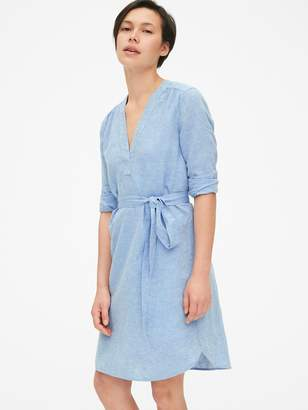Gap Popover V-Neck Shirtdress in Linen
