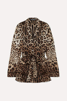 Dolce & Gabbana Belted Leopard-print Stretch-silk Blouse - Brown