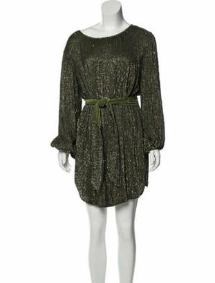 retrofete Scoop Neck Mini Dress Green