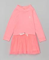 U.S. Polo Assn. Neon Pink Cowl Neck Dress - Girls