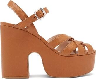 Miu Miu Crossover-strap Leather Platform Sandals - Tan