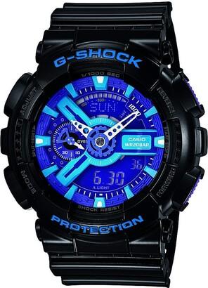 Casio Men's XL Series G-Shock Quartz 200M WR Shock Resistant Resin Color:Black Blue and Purple (Model GA-110HC-1ACR)