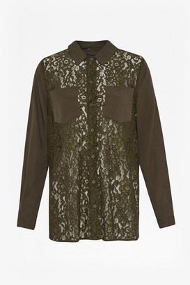 French Connection Marian Lace Mix Long Sleeved Shirt
