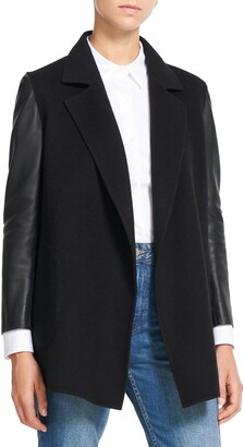 Theory Clairene Wool & Cashmere Jacket with Leather Sleeves