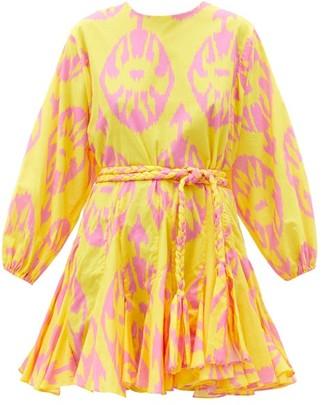Rhode Resort Ella Ikat-print Cotton-gauze Mini Dress - Yellow Print