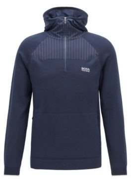 HUGO BOSS Hooded Sweater With Placement Pinstripe Fabric - Dark Blue