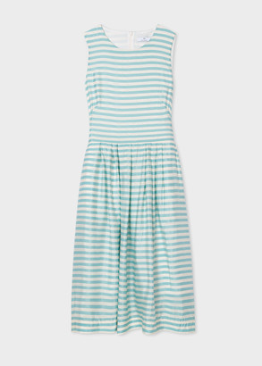 Paul Smith Women's Sky Blue And White Stripe Sleeveless Midi Dress