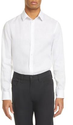 Giorgio Armani Slim Fit Long Sleeve Linen Button-Up Shirt