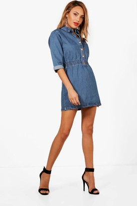 boohoo Popper Front Denim Dress