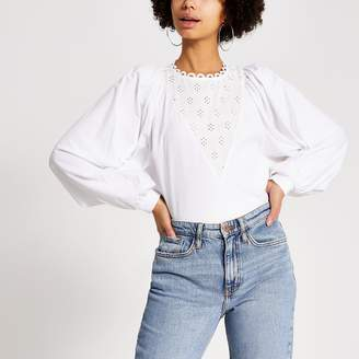 River Island Womens White broderie long batwing sleeve T-shirt