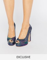 Terry De Havilland Luna Petrol Peep Toe Heeled Shoes