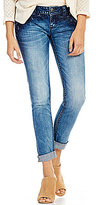 Miss Me Floral Embroidered Skinny-Fit Cuffed Stretch Denim Jeans