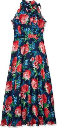 Tahari ASL Women's Sleeveless Halter Neck Chiffon Dress