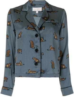 Fleur Du Mal Jaguar-Motif Silk Shirt