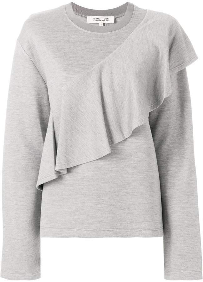 Diane von Furstenberg asymmetric ruffle trim sweatshirt