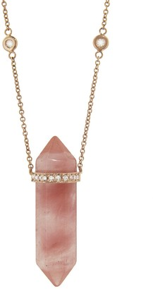 Jacquie Aiche Strawberry Quartz Double Point Crystal Necklace - Rose Gold