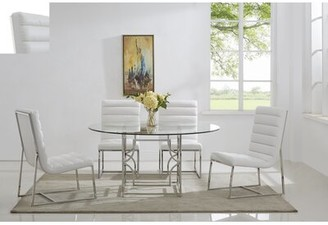 """Everly Quinn Uday 5 Piece Dining Set Quinn Table Top Size: 60"""", Color: Silver/ Gray"""