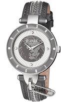 Versus By Versace 37mm Key Biscayne II Watch w/ Leather Zipper Strap, Gray