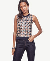 Ann Taylor Sequin Houndstooth Cropped Ann Shell