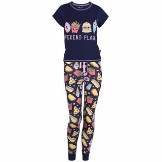 Love To Lounge Navy Blue Top & Bottoms Pyjama Set for Ladies Fast Food Design - S