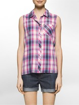 Calvin Klein Summer Plaid Sleeveless Top