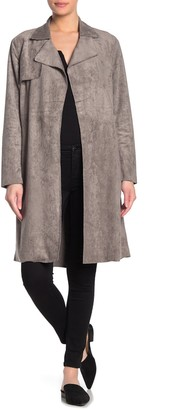 Blanknyc Denim Belted Faux Suede Trench Coat