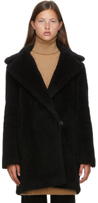 Max Mara Black Alpaca and Wool Fiocco Coat