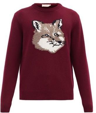 MAISON KITSUNÉ Fox Head-intarsia Wool Sweater - Burgundy