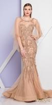 Terani Couture Damask Embellished Capelet Evening Dress
