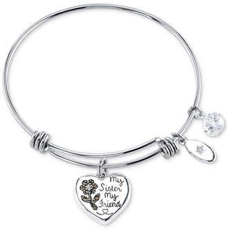 Unwritten Marcasite Heart & Crystal Sister Charm Bangle Bracelet in Stainless Steel