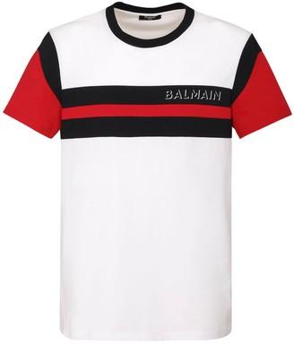Balmain Printed Intarsia Logo Cotton T-Shirt