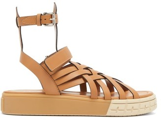 Prada Woven-upper Leather Platform Sandals - Womens - Tan