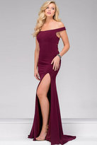 Jovani Fitted Jersey Off the Shoulder Prom Dress 49369