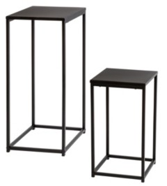 Honey-Can-Do Set of 2 Square Black Side Tables