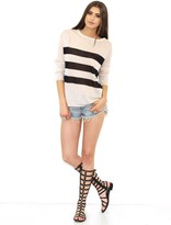525 America Rugby Striped Sweater in Linen/Black