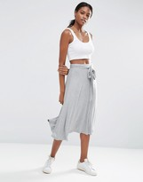 Asos Midi Skater Skirt with Tie Knot