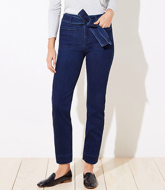 LOFT Tie Waist High Waist Straight Leg Jeans in Vintage Dark Indigo Wash