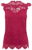 "Oasis LACE HIGH NECK TOP [span class=""variation_color_heading""]- Burgundy[/span]"