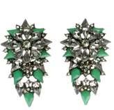 Johnny Loves Rosie Green Spike and Diamante Statement Earrings of Length 4cm