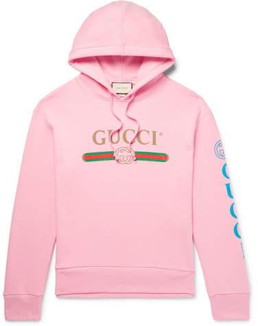 Gucci Appliquéd Logo-Print Loopback Cotton-Jersey Hoodie