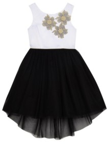 Belle by Badgley Mischka Big Girls Tulle Skirt with Applique Bodice Dress