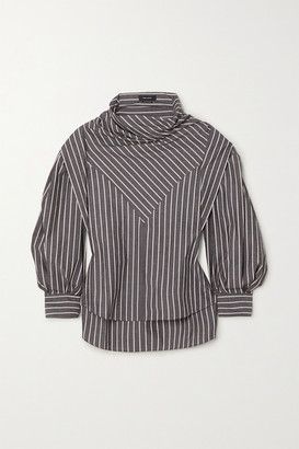 Isabel Marant Welly Paneled Striped Cotton And Silk-blend Blouse - Anthracite