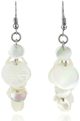 Aeravida Handmade Ocean Round Clusters of White Kabibe Seashell Dangle Earrings